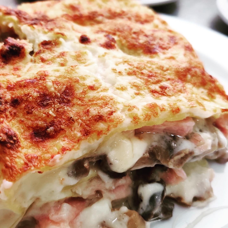Lasagne con Porcini, Brie e Prosciutto Cotto